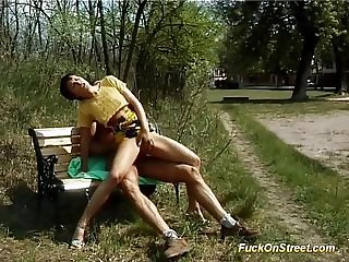 horny Milf gets deep anal fucked in a public park