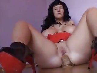 PAWG riding dildo up her ass