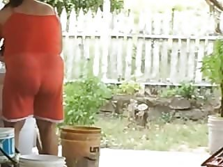 big ass land lady doing laundry see through panties
