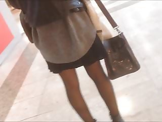 candid in nylon pantyhose in mall