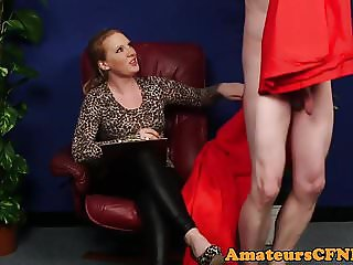 Bigtits domina teasing during CFNM
