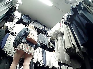 Tall Chic Upskirted in Sports Shop