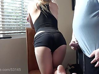 Sexy Smoking Blonde wants cum on her ass