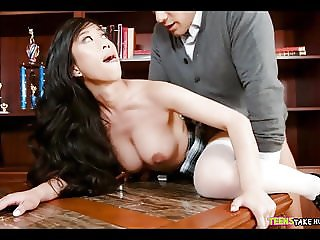 Asian gets ripped in the office
