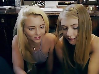 double young blonde teens sucking my cock POV