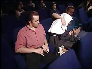 Nun orgy group sex in movie theater PART 1