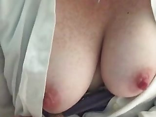 Busty Babe Flashing Her Boobs At Home 51
