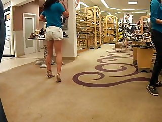 Teen trying on high heels tight jean shorts VPL's