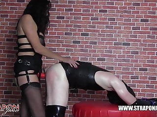 Strapon Jane dominates fucks tight latex fetish TGirl pussy