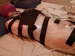 Plastic wrap bondage with a fairy