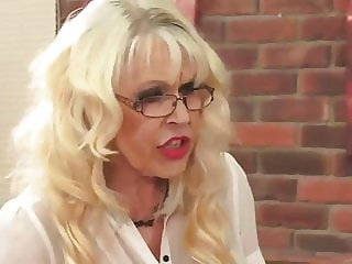 Blonde Gilf in tights fucking and sucking
