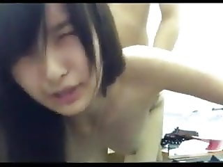 Thai girl shows her beautiful face during fuck