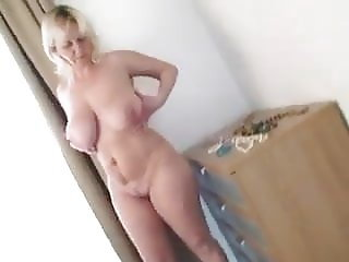 Big tits mature strip and play