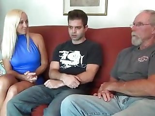 Hot mother with not her son and dad