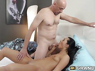 Young babe makes steamy love with vigorous older man