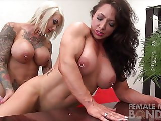 Two Sexy Female Muscle Lesbians Dildo Fuck