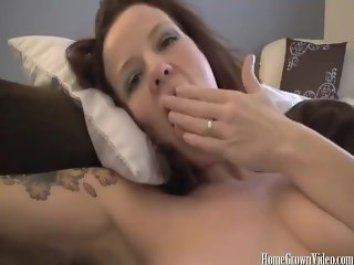 My friends hot busty mom jerks off my cock until I cum