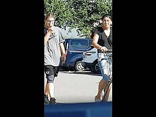 Public jerk off in the car and watched by two women