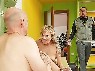 DADDY4K. Old man seduces son's hot girlfriend while guy...