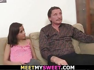 Guy finds girlfriend riding old dad's cock