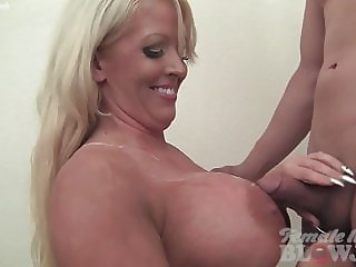 Female Muscle Porn Star Takes Cum on Her Huge Tits