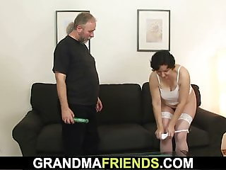Her hairy old pussy toyed and double-fucked
