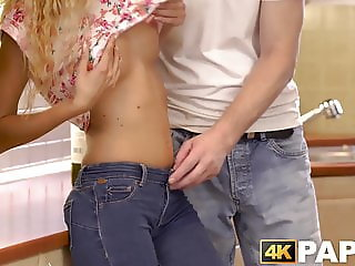 Sexy young babe with pretty little tits fucks a mature guy