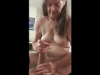 Grandma loves jerking him off