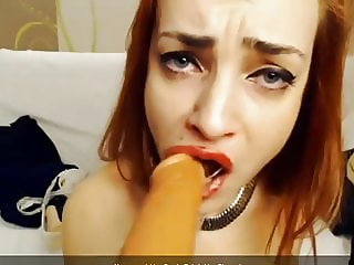 hardcore deepthroat & anal gaping for redhead skinny slut