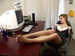 Office Pantyhose Foot And Sole Tease