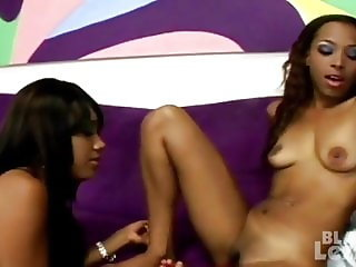 Sexy ebony sluts giving head & being banged in amateur style