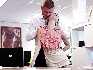 Horny secretary has to satisfy her boss in any way possible
