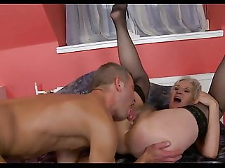 Blonde granny and horny guy