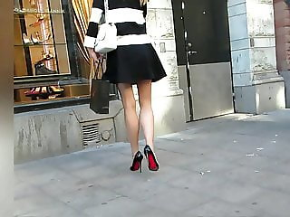 Candid windy short Skirt and High Heels