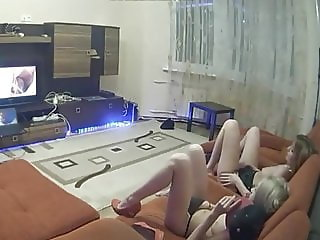 girlfriend with sister watching porn