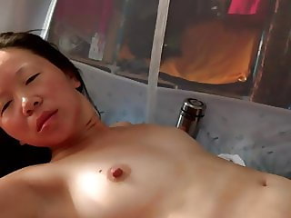 Cheating Chinese fucking white guy in her dormitory - Part 2
