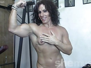 Ripped Female Muscle Cougar Naked in the Gym