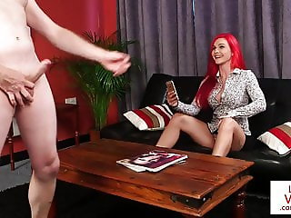CFNM redhead instructs flatmate top wank