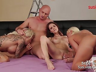 Real GERMAN FOURSOME! Watch RoxxyX MaryWet and Celina Davis!