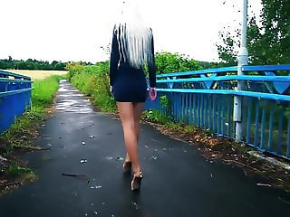 Very HOT russian teen in short dress, nylon, high heels