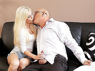 DADDY4K. Bald daddy stretches divine blonde Candee Licious..