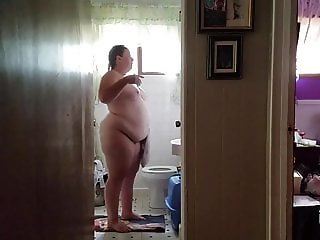 249 lb Fat ass Chrissy in the bathroom at home