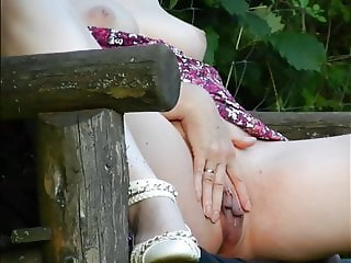 Marina Masturbating on a Forest Bench