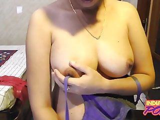 Indian GF In Blue Bra Showing Shaved Pussy On Webcam