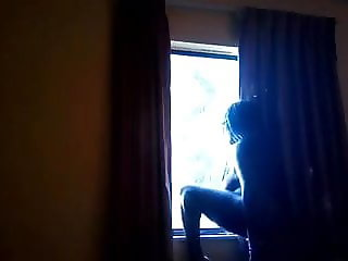 Thick black slave masturbation on first floor hotel room