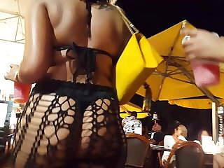 Candid voyeur ebony in see through with thong