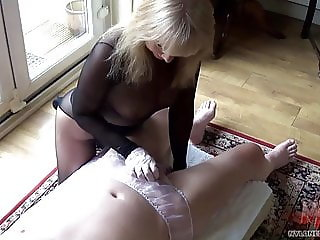 Encased Blonde Oiled Handjob In panties
