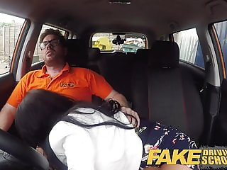 Fake Driving School Spunk covered pussy for busty British ba