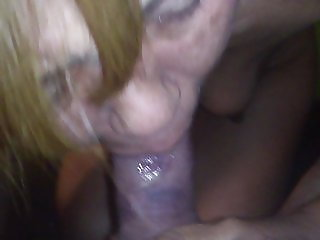 she tries to swallow my whole cock and ends up crying