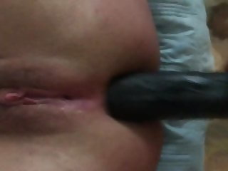 Wife takes bbc dildo in ass